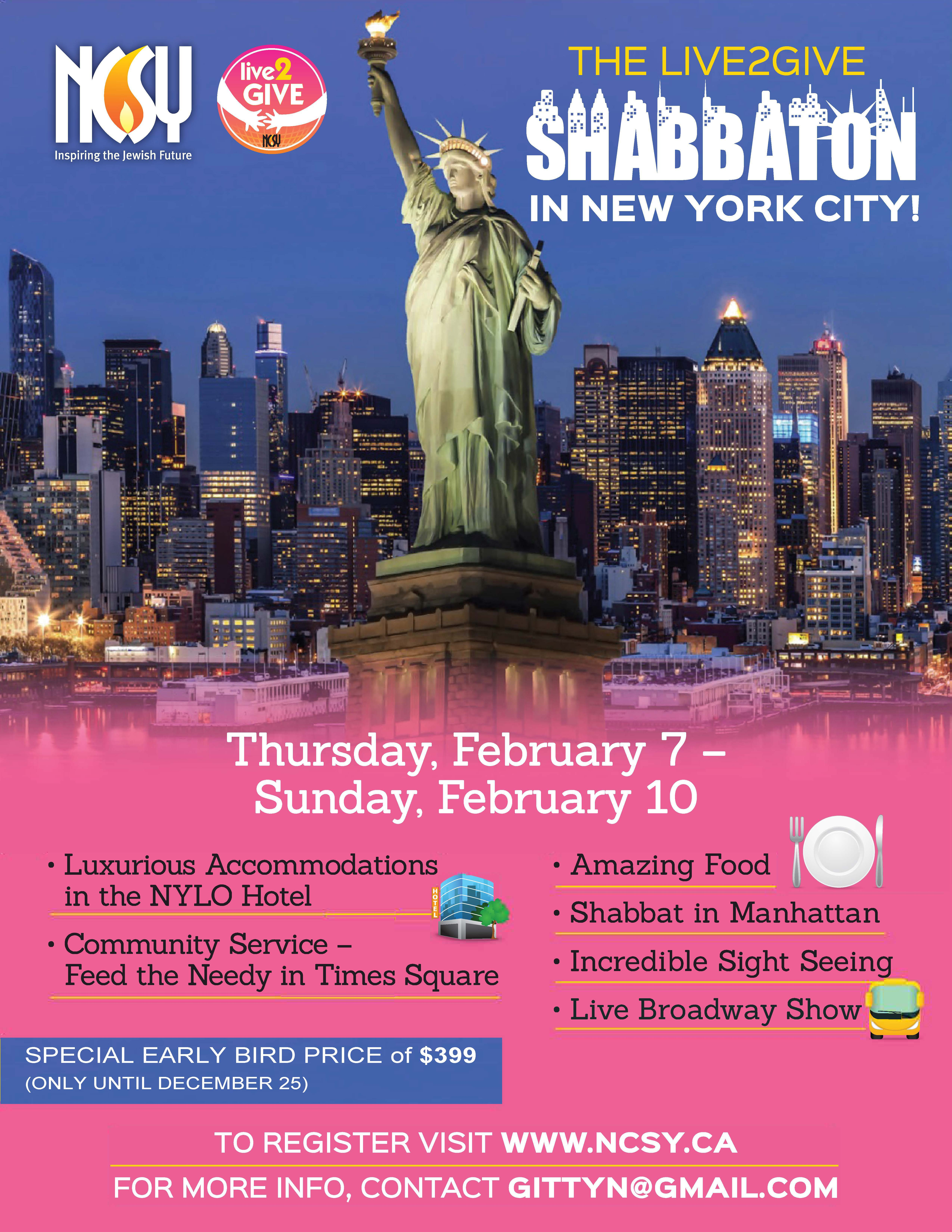 All Girls Live2Give Shabbaton in NYC! – Thu Feb 7th 11:00PM